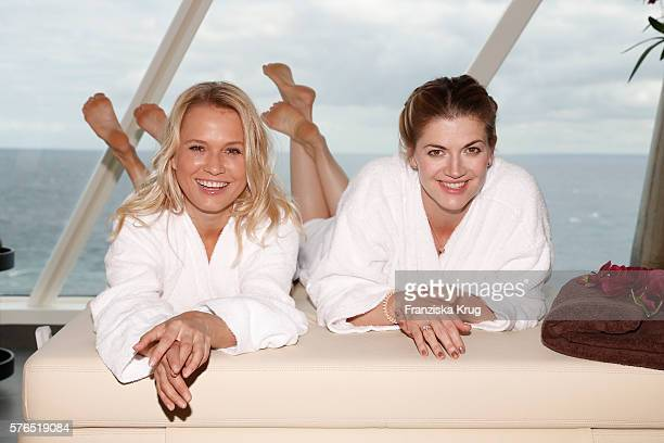 Nova Meierhenrich and Nina Bott during the baptism of the cruise ship 'Mein Schiff 5' on July 15 2016 in Kiel Germany