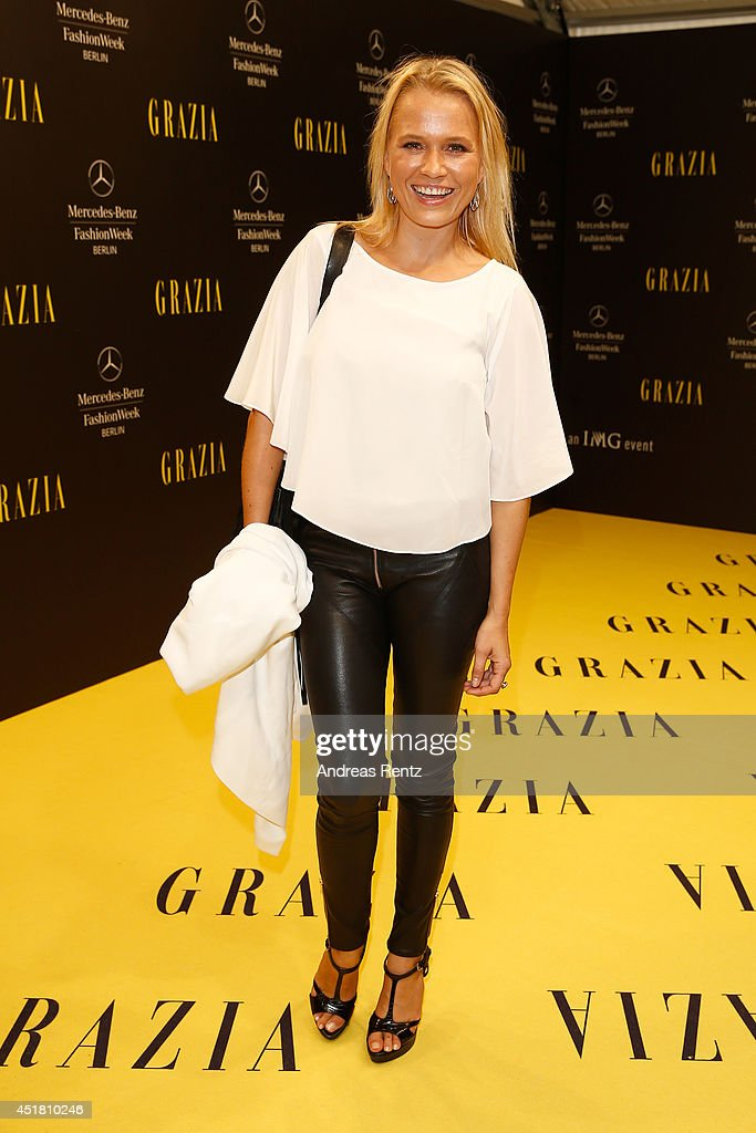 Nova Meierhenrich arrives for the Opening Night by Grazia fashion show during the Mercedes-Benz Fashion Week Spring/Summer 2015 at Erika Hess Eisstadion on July 7, 2014 in Berlin, Germany.