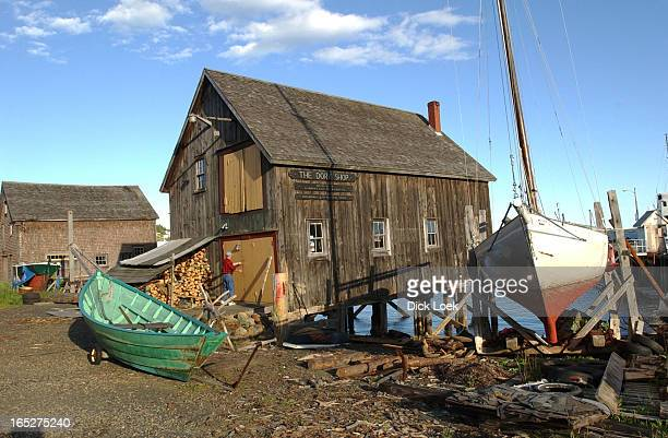 Nova Scotia Lunenburg Dory Shop Dories are made of white pine red pine red oak spruce roots and hot dipped galvanized nails The hot dipped part is...