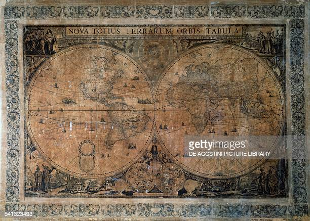 Nova Totius Terrarum Orbis Tabula double hemisphere world map by Frederick de Wit dedicated to the Emperor Joseph I copper engraving 164x233 cm...