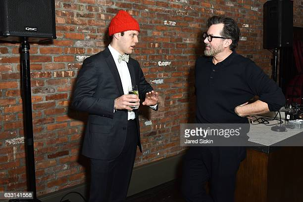 B J Novak and Billy Reid attend Billy Reid Backstage NYFW Men's at The Cellar at The Beekman on January 30 2017 in New York City