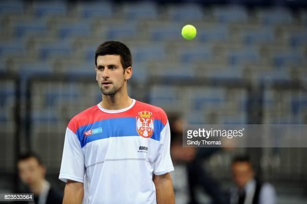 Novak Djokovic Entrainement de l'Equipe de Serbie France / Serbie Finale de Coupe Davis Belgrade