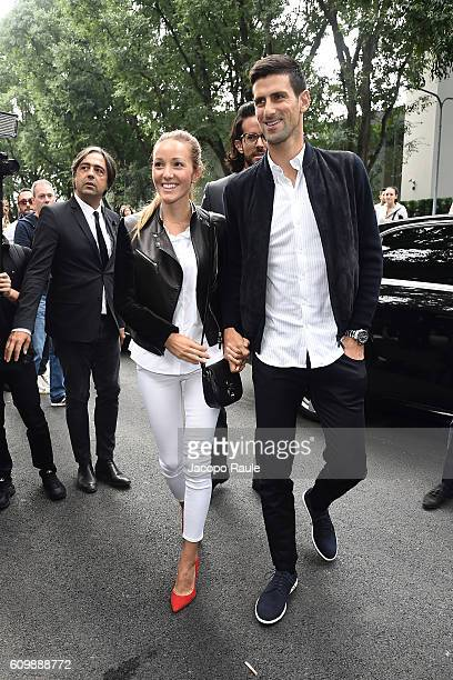 Novak Djokovic and Jelena Djokovic arrive at the Giorgio Armani show during Milan Fashion Week Spring/Summer 2017 on September 23 2016 in Milan Italy