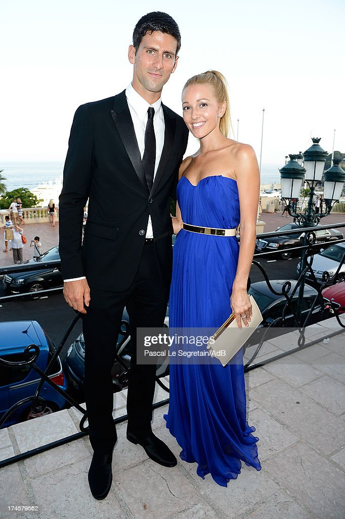 <a gi-track='captionPersonalityLinkClicked' href=/galleries/search?phrase=Novak+Djokovic&family=editorial&specificpeople=588315 ng-click='$event.stopPropagation()'>Novak Djokovic</a> and <a gi-track='captionPersonalityLinkClicked' href=/galleries/search?phrase=Jelena+Ristic&family=editorial&specificpeople=5608157 ng-click='$event.stopPropagation()'>Jelena Ristic</a> attend the cocktail at the 'Love Ball' hosted by Natalia Vodianova in support of The Naked Heart Foundation at Opera Garnier on July 27, 2013 in Monaco, Monaco.