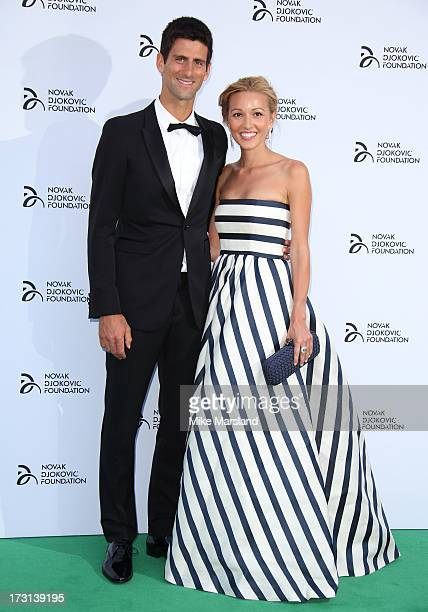 Novak Djokovic and Jelena Ristic attend the Novak Djokovic Foundation London gala dinner at The Roundhouse on July 8 2013 in London England