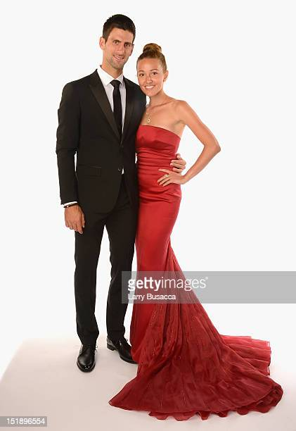 Novak Djokovic and Jelena Ristic attend The Novak Djokovic Foundation's inaugural dinner at Capitale on September 12 2012 in New York City