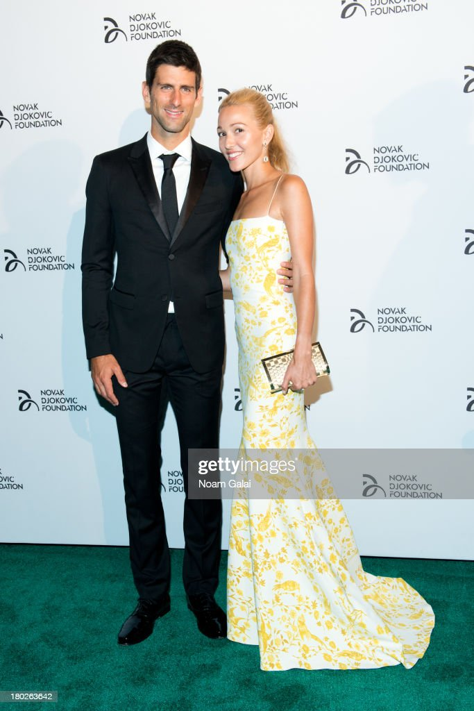<a gi-track='captionPersonalityLinkClicked' href=/galleries/search?phrase=Novak+Djokovic&family=editorial&specificpeople=588315 ng-click='$event.stopPropagation()'>Novak Djokovic</a> and <a gi-track='captionPersonalityLinkClicked' href=/galleries/search?phrase=Jelena+Ristic&family=editorial&specificpeople=5608157 ng-click='$event.stopPropagation()'>Jelena Ristic</a> attend the The 2013 <a gi-track='captionPersonalityLinkClicked' href=/galleries/search?phrase=Novak+Djokovic&family=editorial&specificpeople=588315 ng-click='$event.stopPropagation()'>Novak Djokovic</a> Benefit Dinner at Capitale on September 10, 2013 in New York City.