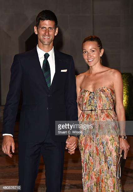 Novak Djokovic and Jelena Ristic attend the Wimbledon Champions Dinner at The Guildhall on July 12 2015 in London England