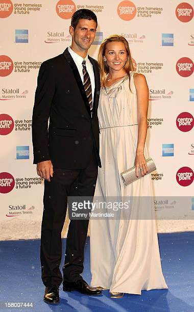 Novak Djokovic and Jelena Ristic attend the Winter Whites Gala at Royal Albert Hall on December 8 2012 in London England
