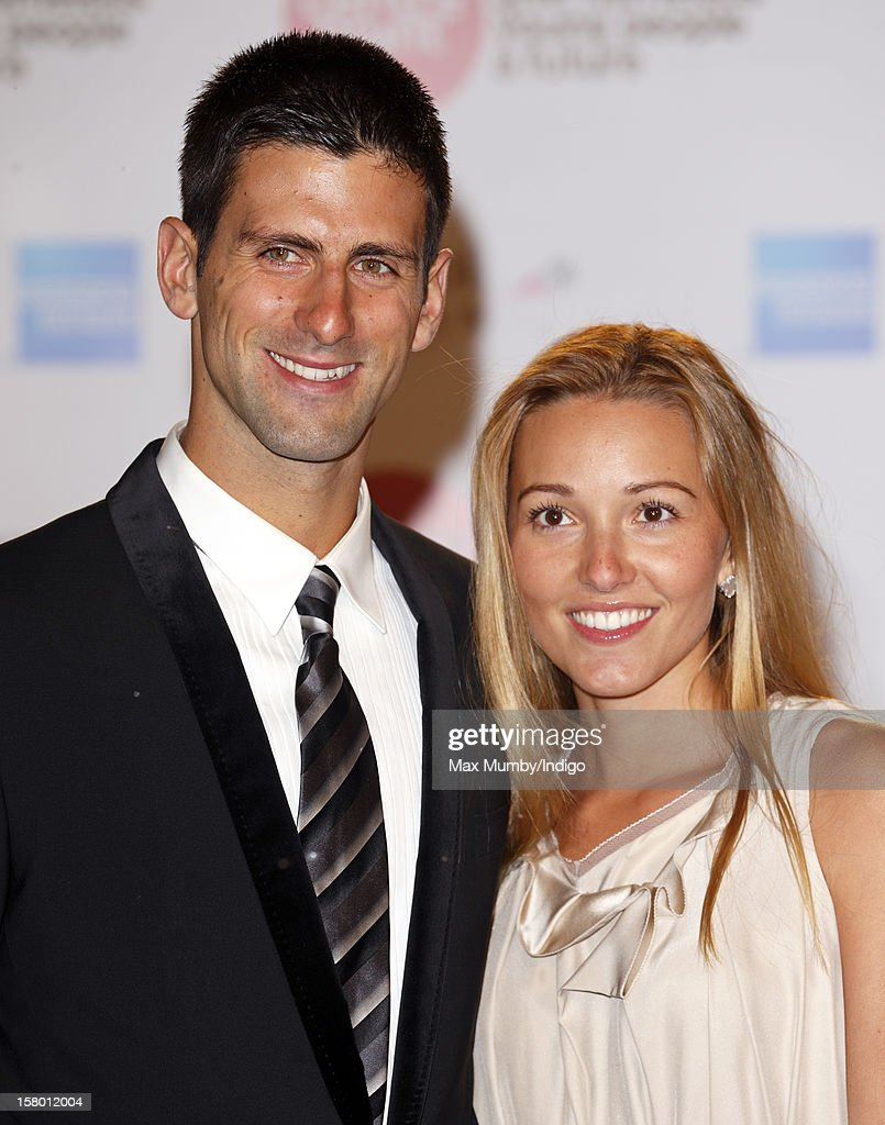 Novak Djokovic and Jelena Ristic attend the Winter Whites Gala, in aid of homeless charity Centrepoint, at The Royal Albert Hall on December 08, 2012 in London, England.