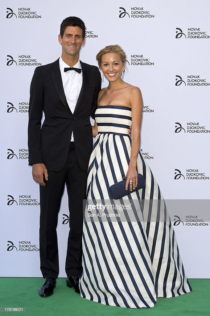 Novak Djokovic and Jelena Ristic attends the Novak Djokovic Foundation London gala dinner at The Roundhouse on July 8, 2013 in London, England.