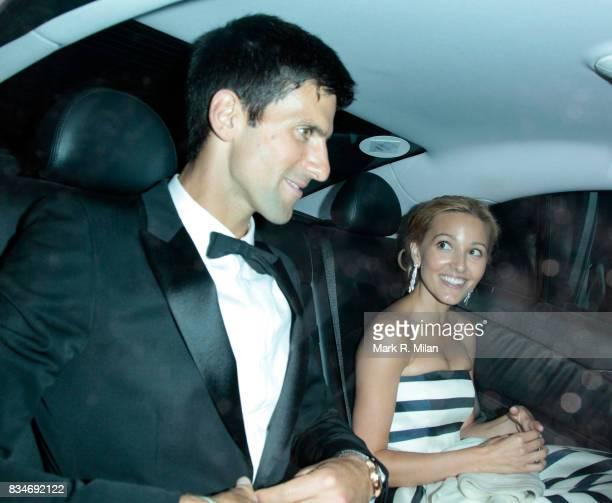 Novak Djokovic and Jelena Ristic depart the Novak Djokovic Foundation Dinner on July 8 2013 in London England