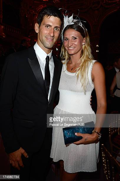 Novak Djokovic and Tatiana Golovin attend the dinner at 'Love Ball' hosted by Natalia Vodianova in support of The Naked Heart Foundation at Opera...