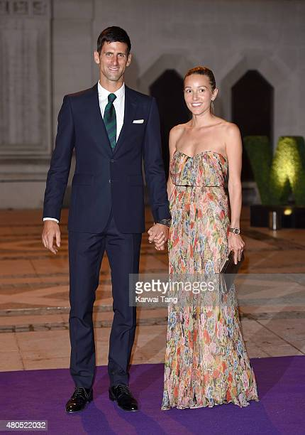 Novak Djokovic and wife Jelena attend the Wimbledon Champions Dinner at The Guildhall on July 12 2015 in London England