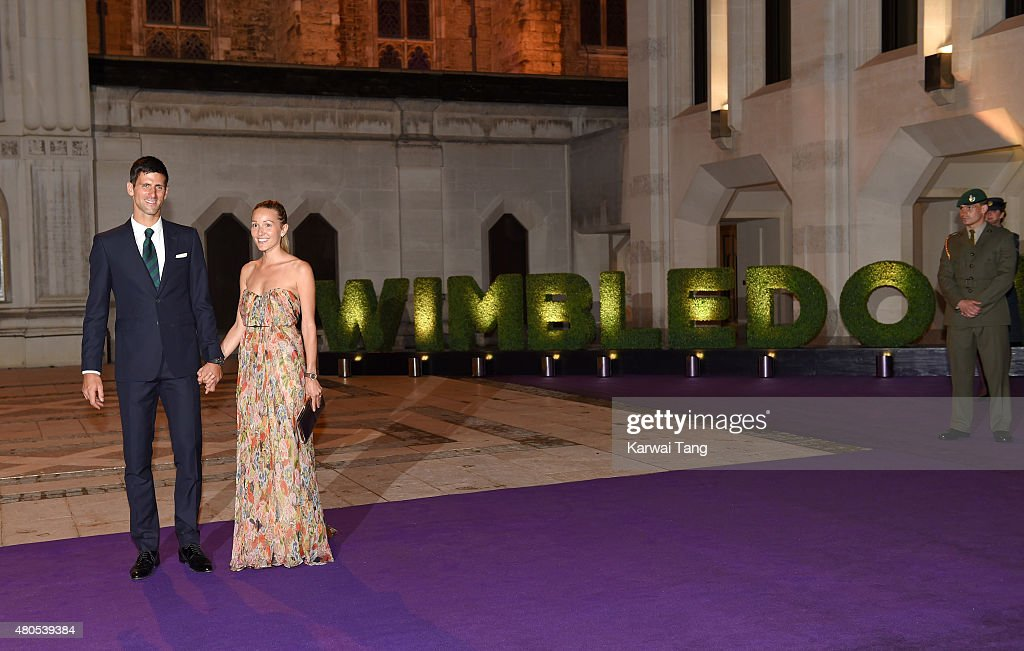 Novak Djokovic and wife Jelena attend the Wimbledon Champions Dinner at The Guildhall on July 12, 2015 in London, England.