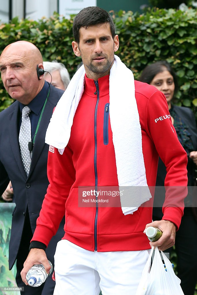 <a gi-track='captionPersonalityLinkClicked' href=/galleries/search?phrase=Novak+Djokovic&family=editorial&specificpeople=588315 ng-click='$event.stopPropagation()'>Novak Djokovic</a> arriving for Day 4 of Wimbledon on June 29, 2016 in London, England.