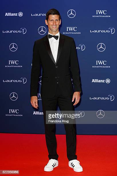 Novak Djokovic attends the Laureus World Sports Awards 2016 at the Messe Berlin on April 18 2016 in Berlin Germany
