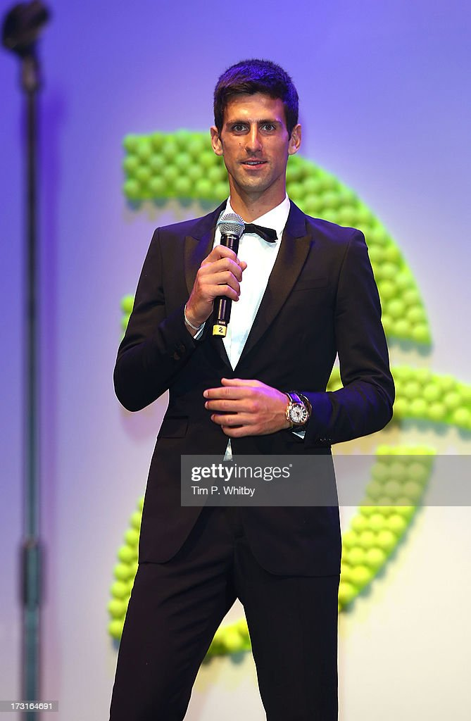 <a gi-track='captionPersonalityLinkClicked' href=/galleries/search?phrase=Novak+Djokovic&family=editorial&specificpeople=588315 ng-click='$event.stopPropagation()'>Novak Djokovic</a> attends the <a gi-track='captionPersonalityLinkClicked' href=/galleries/search?phrase=Novak+Djokovic&family=editorial&specificpeople=588315 ng-click='$event.stopPropagation()'>Novak Djokovic</a> Foundation inaugural London gala dinner at The Roundhouse on July 8, 2013 in London, England. The foundation supports vulnerable and disadvantaged children, especially in Djokovic's native Serbia.
