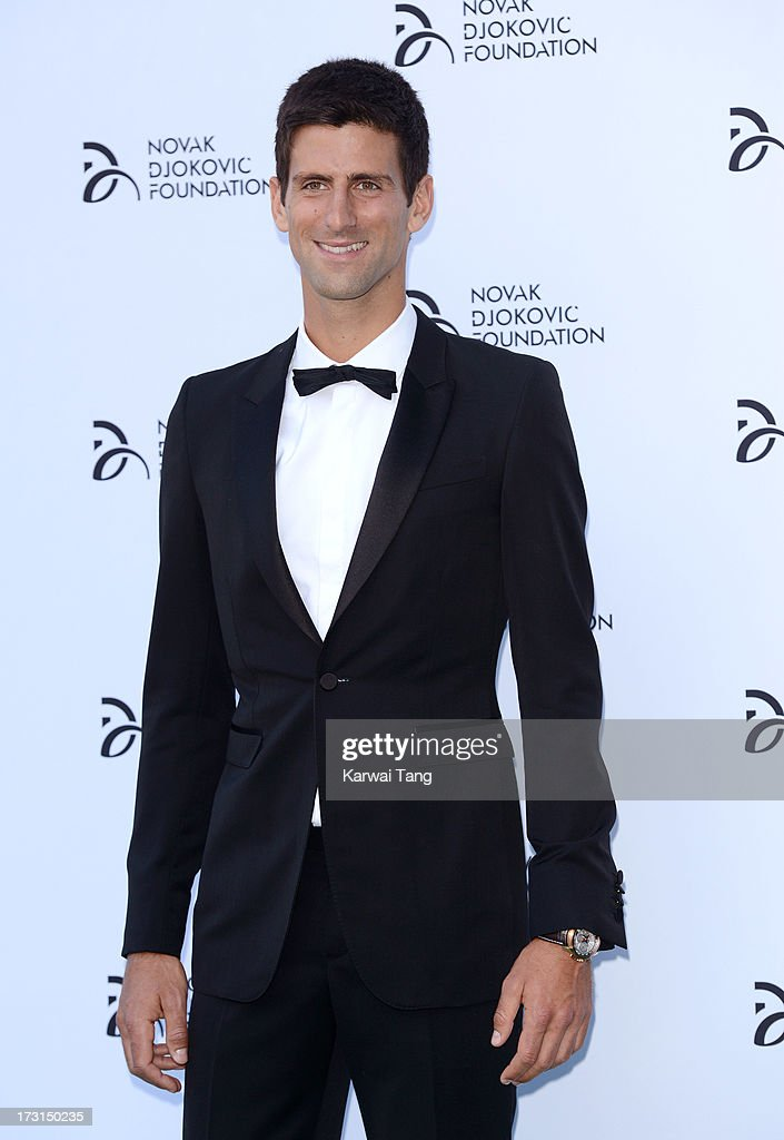 <a gi-track='captionPersonalityLinkClicked' href=/galleries/search?phrase=Novak+Djokovic&family=editorial&specificpeople=588315 ng-click='$event.stopPropagation()'>Novak Djokovic</a> attends the <a gi-track='captionPersonalityLinkClicked' href=/galleries/search?phrase=Novak+Djokovic&family=editorial&specificpeople=588315 ng-click='$event.stopPropagation()'>Novak Djokovic</a> Foundation London gala dinner at The Roundhouse on July 8, 2013 in London, England.