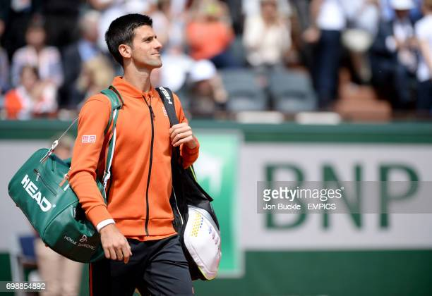 Novak Djokovic before his Men's Singles Quarterfinal match against Rafael Nadal on day eleven of the French Open at Roland Garros on June 3 2015 in...