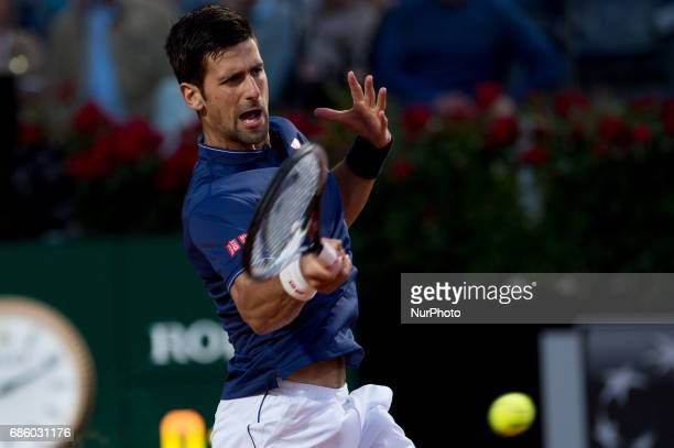 Novak Djokovic celebrates the victory against Dominic Thiem during the ATP World Tour Masters 1000 Internazionali BNL D'Italia at the Foro Italico...