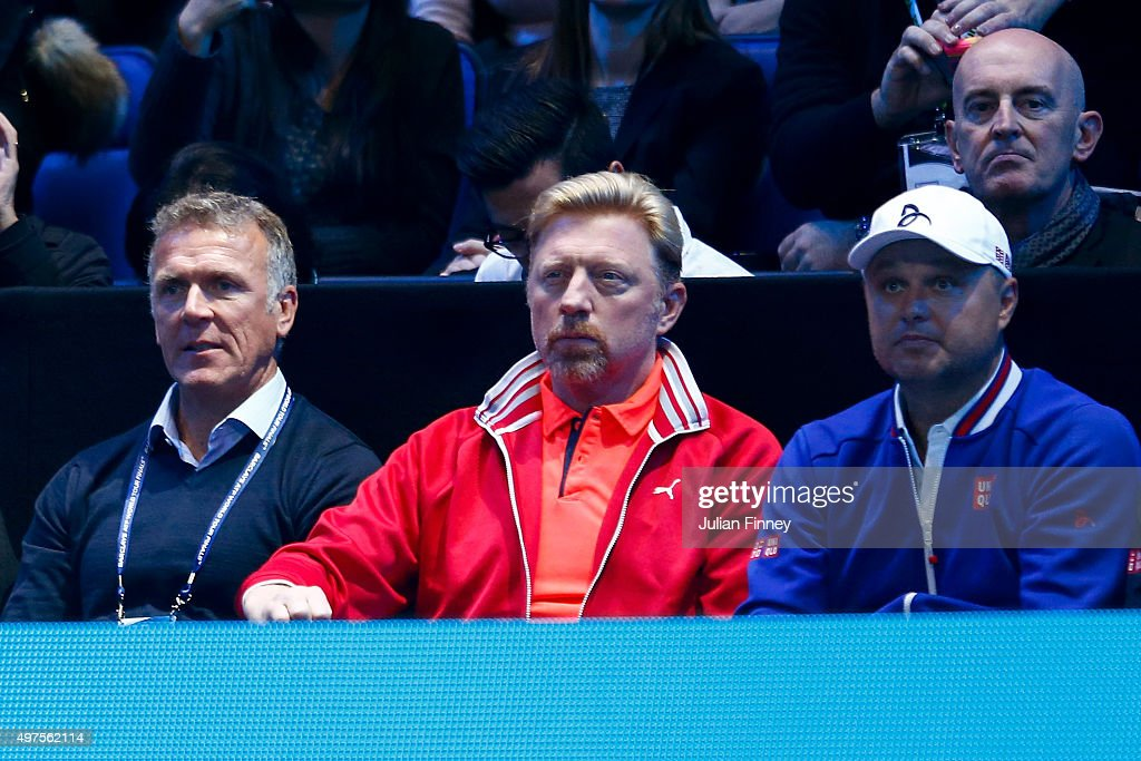 Novak Djokovic coach <a gi-track='captionPersonalityLinkClicked' href=/galleries/search?phrase=Boris+Becker&family=editorial&specificpeople=67204 ng-click='$event.stopPropagation()'>Boris Becker</a> (C), <a gi-track='captionPersonalityLinkClicked' href=/galleries/search?phrase=Alec+Stewart&family=editorial&specificpeople=213485 ng-click='$event.stopPropagation()'>Alec Stewart</a> (L) and Marian Vajda (R) watch on during the match between Novak Djokovic of Serbia and Roger Federer of Switzerland during day three of the Barclays ATP World Tour Finals at the O2 Arena on November 17, 2015 in London, England.