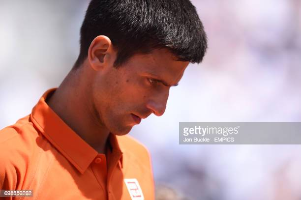 Novak Djokovic during his match against Rafael Nadal in the Men's Singles Quarterfinal on day eleven of the French Open at Roland Garros on June 3...