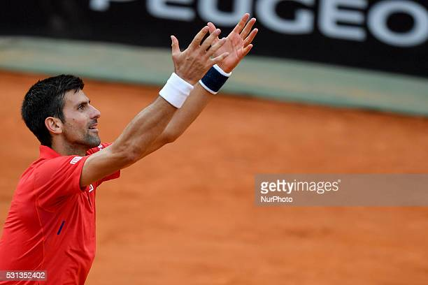 Novak Djokovic during the ATP match Nadal vs Djokovic at the Internazionali BNL d'Italia 2016 at the Foro Italico on May 13 2016 in Rome Italy
