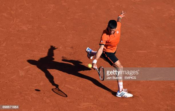 Novak Djokovic during the men's singles final against Stan Wawrinka on day fifteen of the French Open at Roland Garros on June 7th 2015 in Paris...