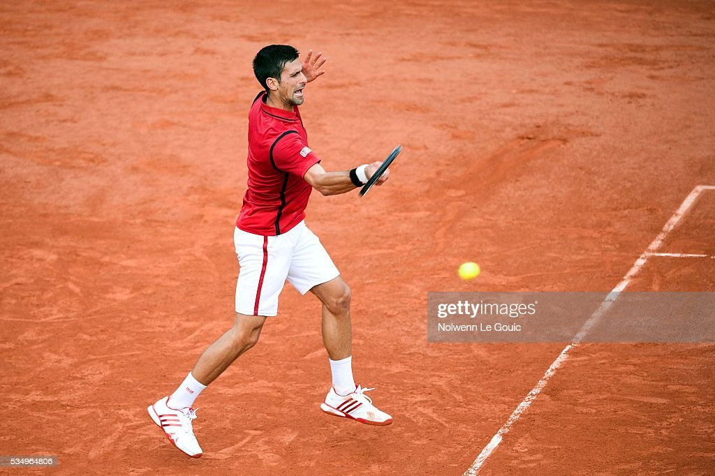 Novak Djokovic during the Men's Singles third round on day seven of the French Open 2016 on May 28, 2016 in Paris, France.