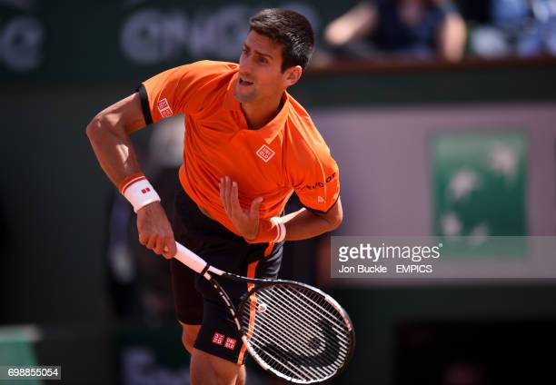 Novak Djokovic in action against Rafael Nadal in the Men's Singles Quarterfinal on day eleven of the French Open at Roland Garros on June 3 2015 in...
