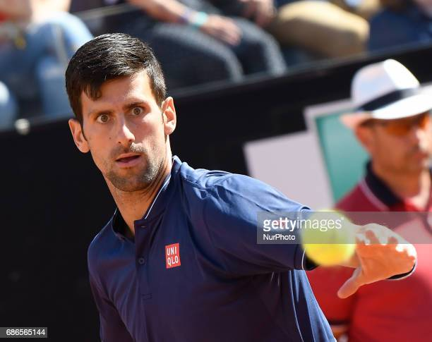 Novak Djokovic in action during his match against Alexander Zverev Internazionali BNL d'Italia 2017 on May 21 2017 in Rome Italy