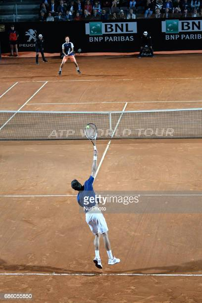 Novak Djokovic in action during his match against Dominic Thiem Internazionali BNL d'Italia 2017 on May 20 2017 in Rome Italy