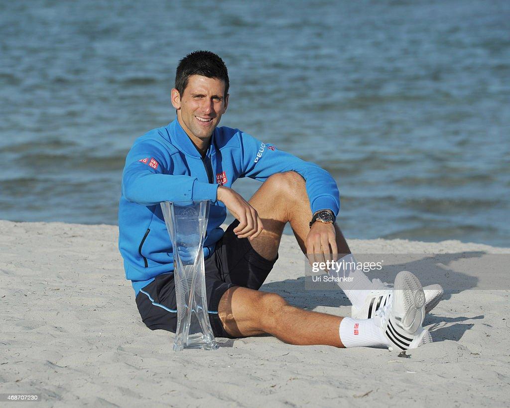 Novak Djokovic is seen at The Miami Open at Crandon Park Tennis Center on April 5 2015 in Key Biscayne Florida