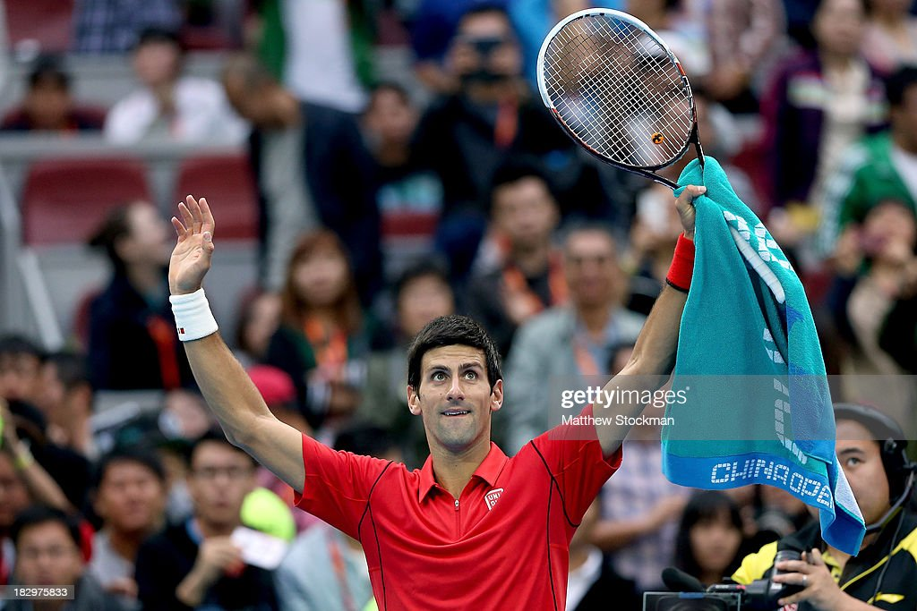 <a gi-track='captionPersonalityLinkClicked' href=/galleries/search?phrase=Novak+Djokovic&family=editorial&specificpeople=588315 ng-click='$event.stopPropagation()'>Novak Djokovic</a> of Serbia acknowledges the crowd after his win over Fernando Verdasco of Spain during day six of the 2013 China Open at the National Tennis Center on October 3, 2013 in Beijing, China.