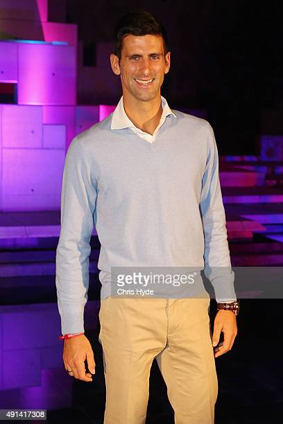 Novak Djokovic of Serbia arrives at the 2015 China Open Player Party at The Birds Nest on October 5 2015 in Beijing China