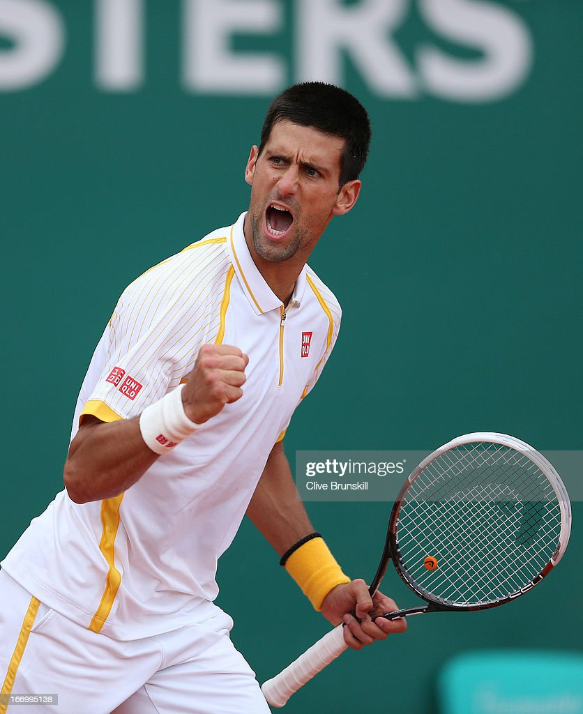 <a gi-track='captionPersonalityLinkClicked' href=/galleries/search?phrase=Novak+Djokovic&family=editorial&specificpeople=588315 ng-click='$event.stopPropagation()'>Novak Djokovic</a> of Serbia celebrates a point against Jarkko Nieminen of Finland in their quarter final match during day six of the ATP Monte Carlo Masters, at Monte-Carlo Sporting Club on April 19, 2013 in Monte-Carlo, Monaco.