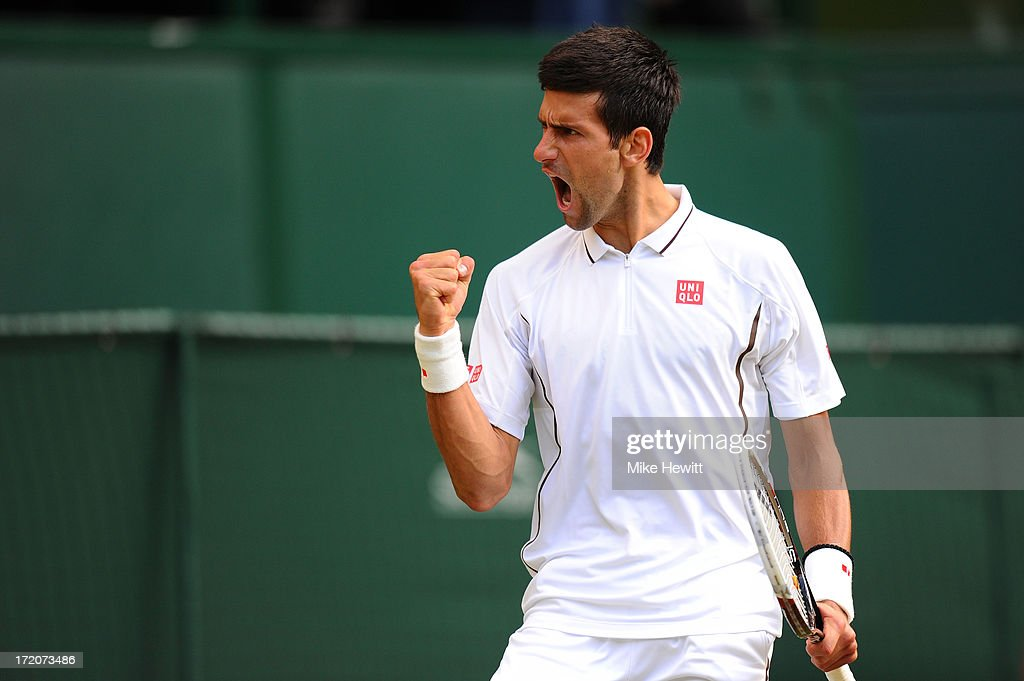 <a gi-track='captionPersonalityLinkClicked' href=/galleries/search?phrase=Novak+Djokovic&family=editorial&specificpeople=588315 ng-click='$event.stopPropagation()'>Novak Djokovic</a> of Serbia celebrates a point during the Gentlemen's Singles fourth round match against Tommy Haas of Germany on day seven of the Wimbledon Lawn Tennis Championships at the All England Lawn Tennis and Croquet Club on July 1, 2013 in London, England.
