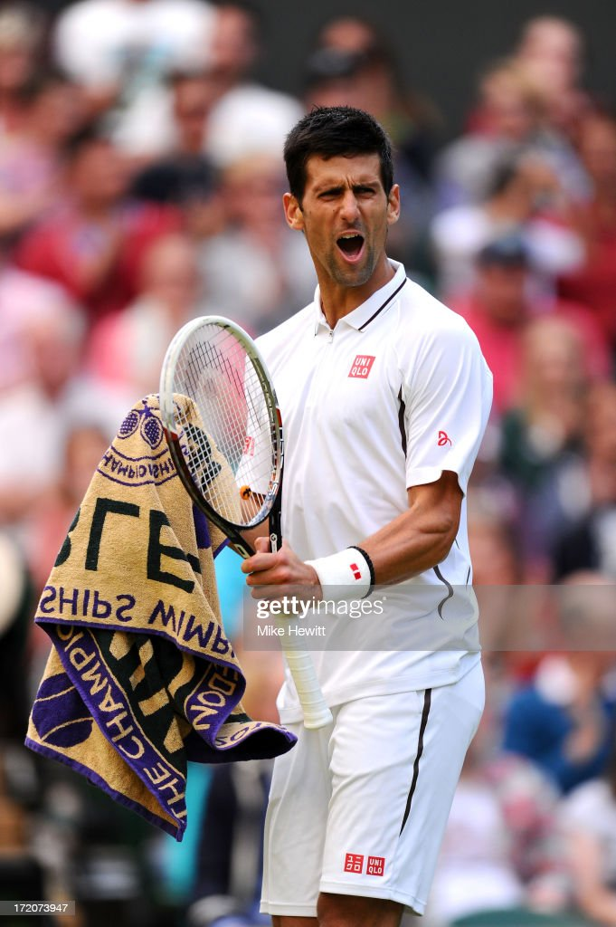 Novak Djokovic of Serbia celebrates a point during the Gentlemen's Singles fourth round match against Tommy Haas of Germany on day seven of the Wimbledon Lawn Tennis Championships at the All England Lawn Tennis and Croquet Club on July 1, 2013 in London, England.