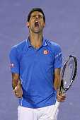 Novak Djokovic of Serbia celebrates a point in his men's final match against Andy Murray of Great Britain during day 14 of the 2015 Australian Open...