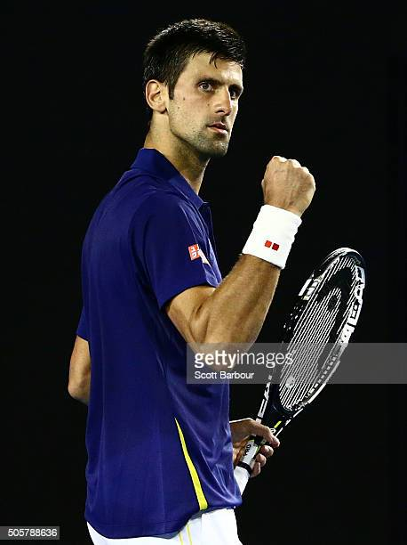 Novak Djokovic of Serbia celebrates a point in his second round match against Quentin Halys of France during day three of the 2016 Australian Open at...