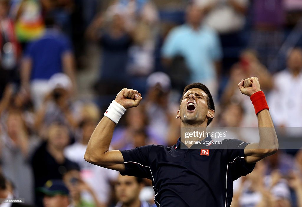 Novak Djokovic of Serbia celebrates after defeating Andy Murray of Great Britain in their men's singles quarterfinal match on Day Ten of the 2014 US Open at the USTA Billie Jean King National Tennis Center on September 3, 2014 in the Flushing neighborhood of the Queens borough of New York City. Djokovic defeated Murray 7-6, 6-7, 6-2, 6-4.