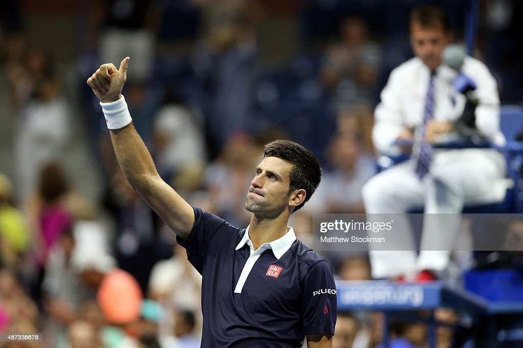 Novak Djokovic of Serbia celebrates after defeating Feliciano Lopez of Spain during their Men's Singles Quarterfinals match on Day Nine of the 2015 US Open at the USTA Billie Jean King National Tennis Center on September 8, 2015 in the Flushing neighborhood of the Queens borough of New York City.