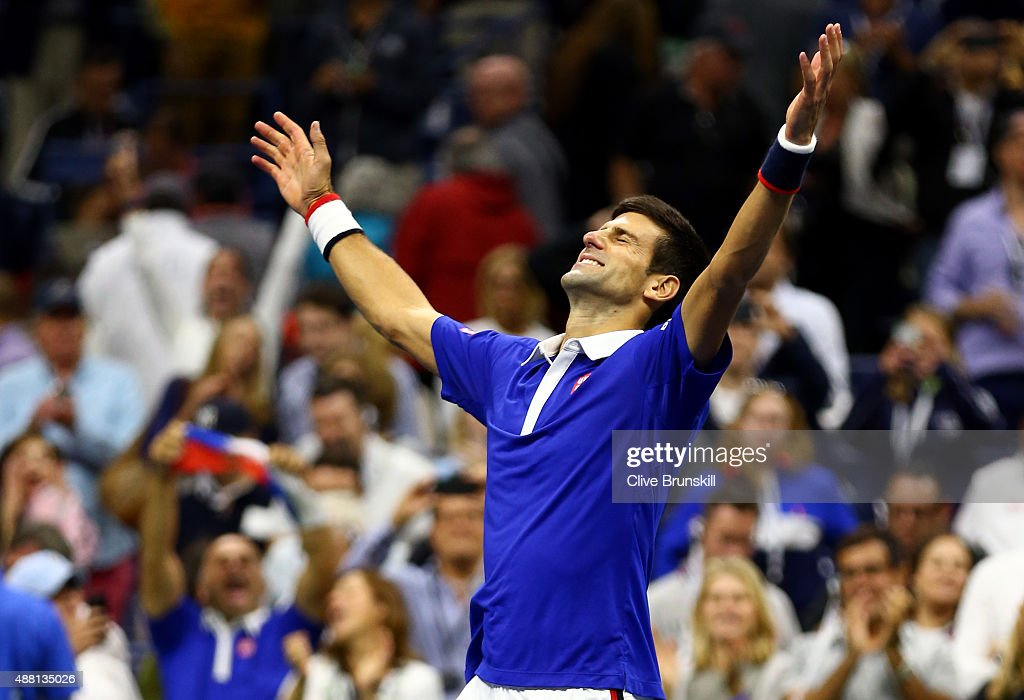 <a gi-track='captionPersonalityLinkClicked' href=/galleries/search?phrase=Novak+Djokovic&family=editorial&specificpeople=588315 ng-click='$event.stopPropagation()'>Novak Djokovic</a> of Serbia celebrates after defeating Roger Federer of Switzerland during their Men's Singles Final match on Day Fourteen of the 2015 US Open at the USTA Billie Jean King National Tennis Center on September 13, 2015 in the Flushing neighborhood of the Queens borough of New York City. Djokovic defeated Federer 6-4, 5-7, 6-4, 6-4.