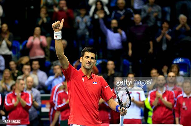 Novak Djokovic of Serbia celebrates after his men's single match against Mate Delic of Croatia on day one of the Davis Cup match between Serbia and...