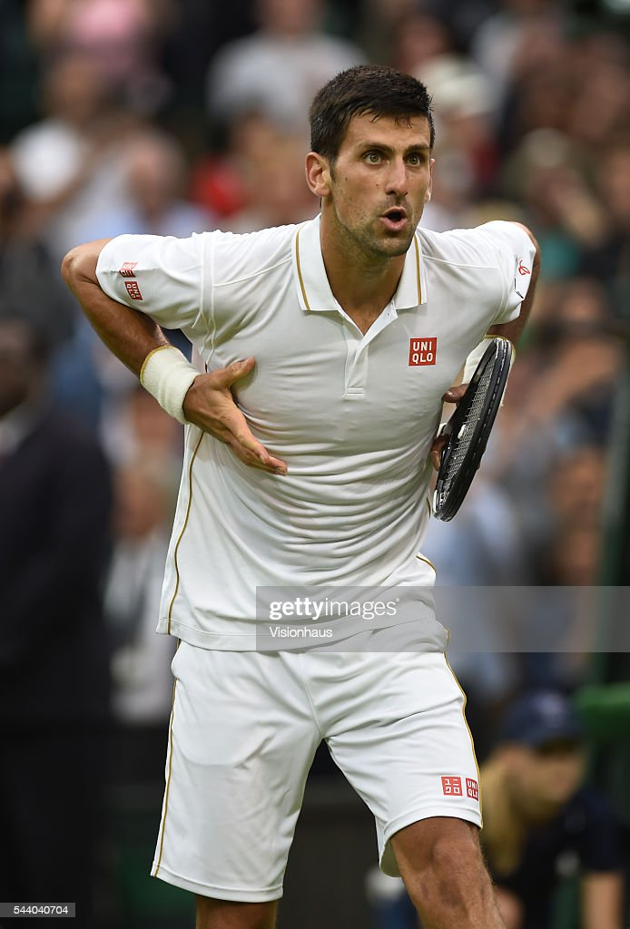 Novak Djokovic of Serbia celebrates after his second round match against Adrian Mannarino of France at Wimbledon on June 29, 2016 in London, England.