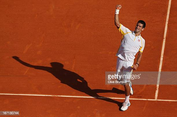 Novak Djokovic of Serbia celebrates after his straight sets victory against Rafael Nadal of Spain in their final match during day eight of the ATP...