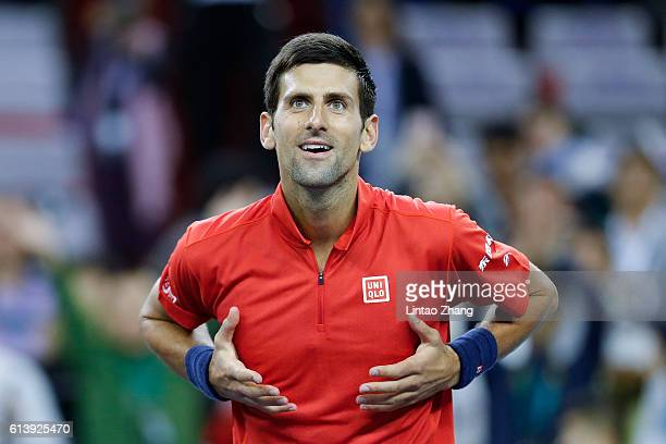 Novak Djokovic of Serbia celebrates after win over Fabio Fognini of Italy during the Men's singles first round match on day three of Shanghai Rolex...