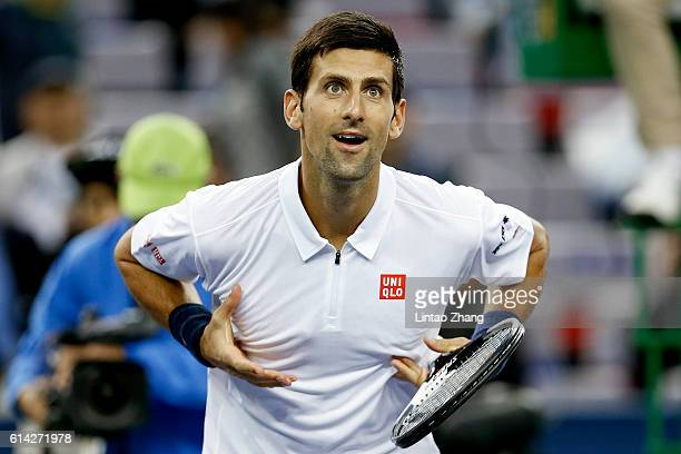 Novak Djokovic of Serbia celebrates after win over Vasek Pospisil of Canada during the Men's singles third round match on day five of Shanghai Rolex...