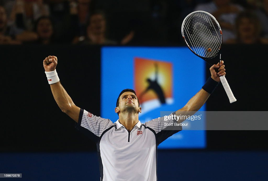 <a gi-track='captionPersonalityLinkClicked' href=/galleries/search?phrase=Novak+Djokovic&family=editorial&specificpeople=588315 ng-click='$event.stopPropagation()'>Novak Djokovic</a> of Serbia celebrates after winning his Quarterfinal match against Tomas Berdych of the Czech Republic during day nine of the 2013 Australian Open at Melbourne Park on January 22, 2013 in Melbourne, Australia.